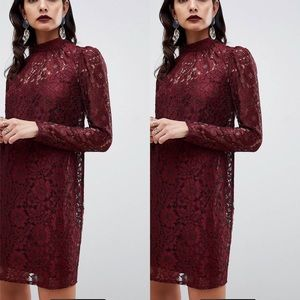 Perfect holiday dress! ASOS Oxblood lace dress